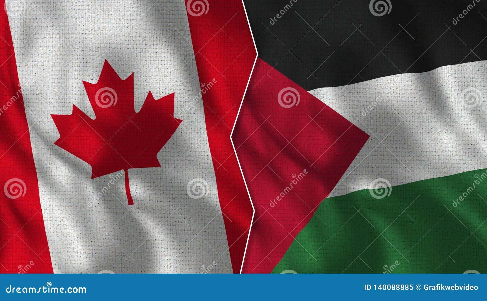 Meias bandeiras de Canadá e de Palestina junto