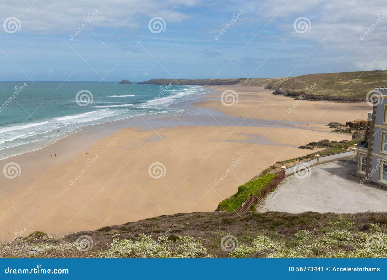 Meilleure plage du nord Perranporth Angleterre R-U des Cornouailles