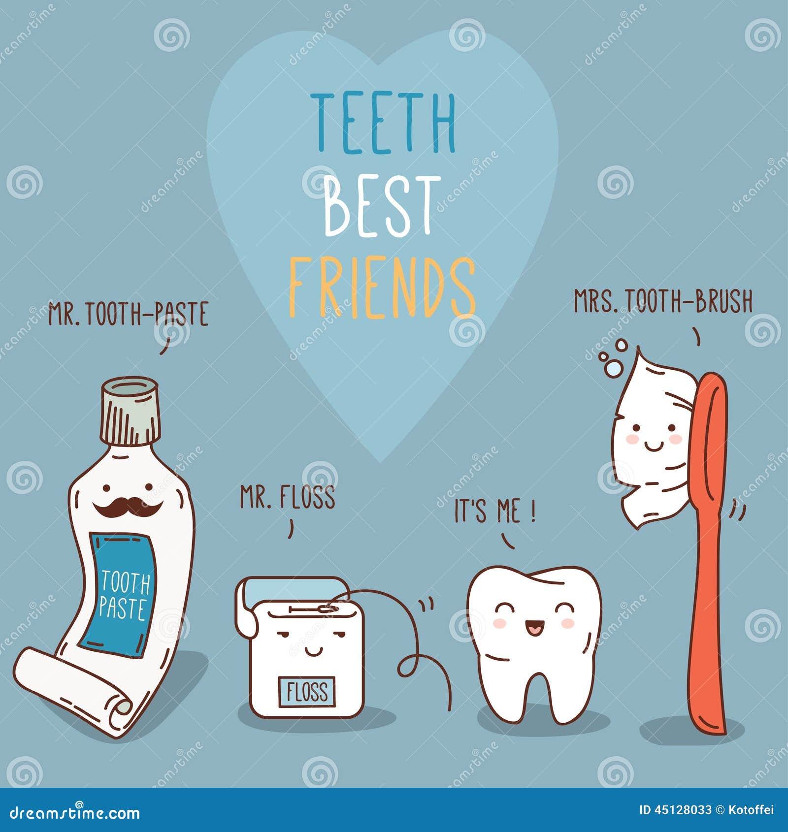 Meilleurs amis de dents - dent au delà, brosse à dents et