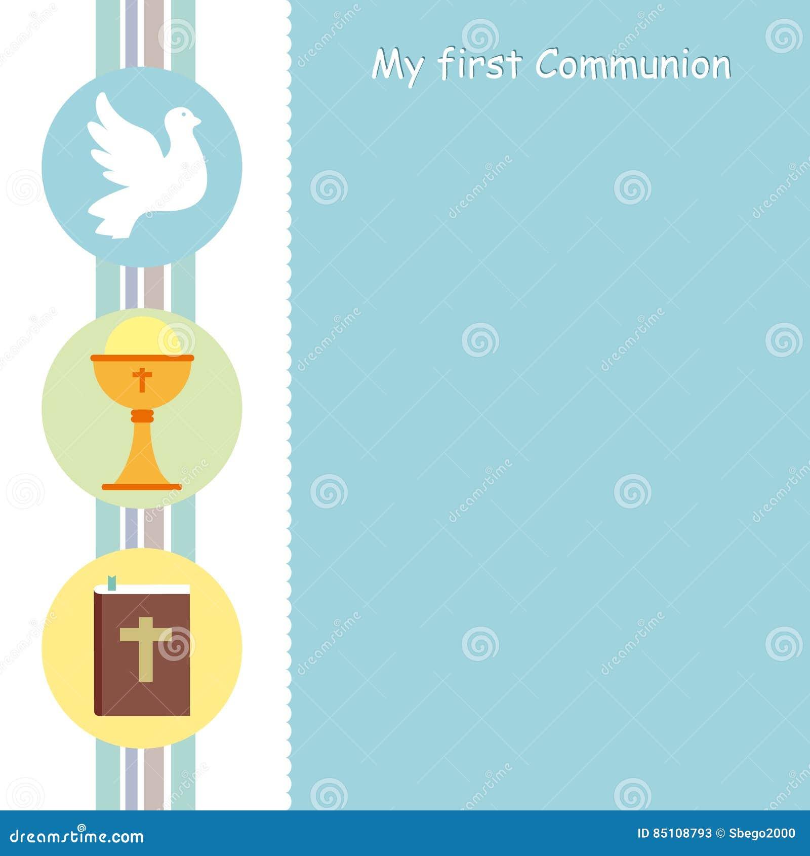 Kommunion Karte Text.Meine Erste Kommunionskarte Vektor Abbildung Illustration Von