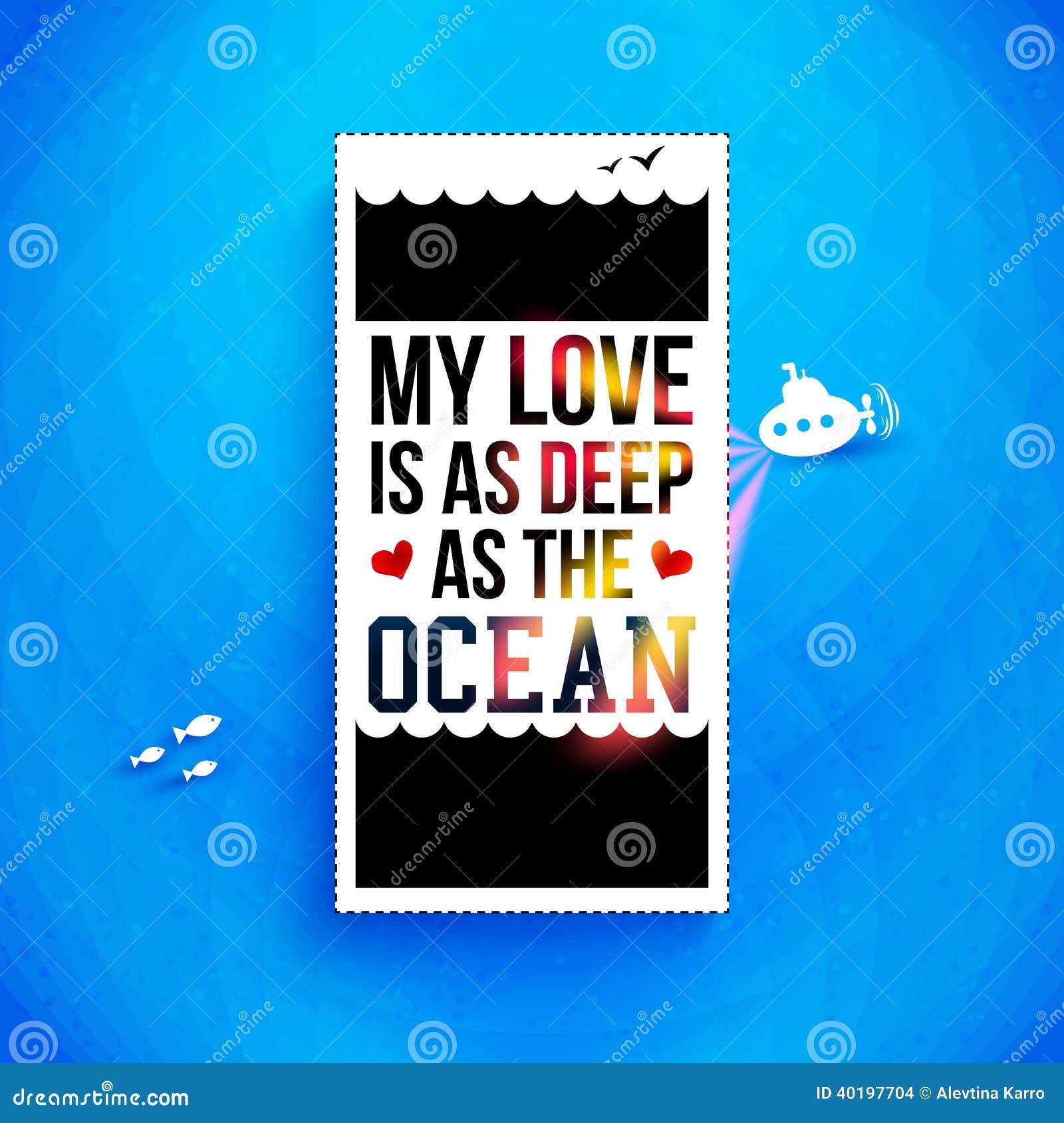 Meine Liebe Ist So Tief Wie Der Ozean Typografiedesign Vektor