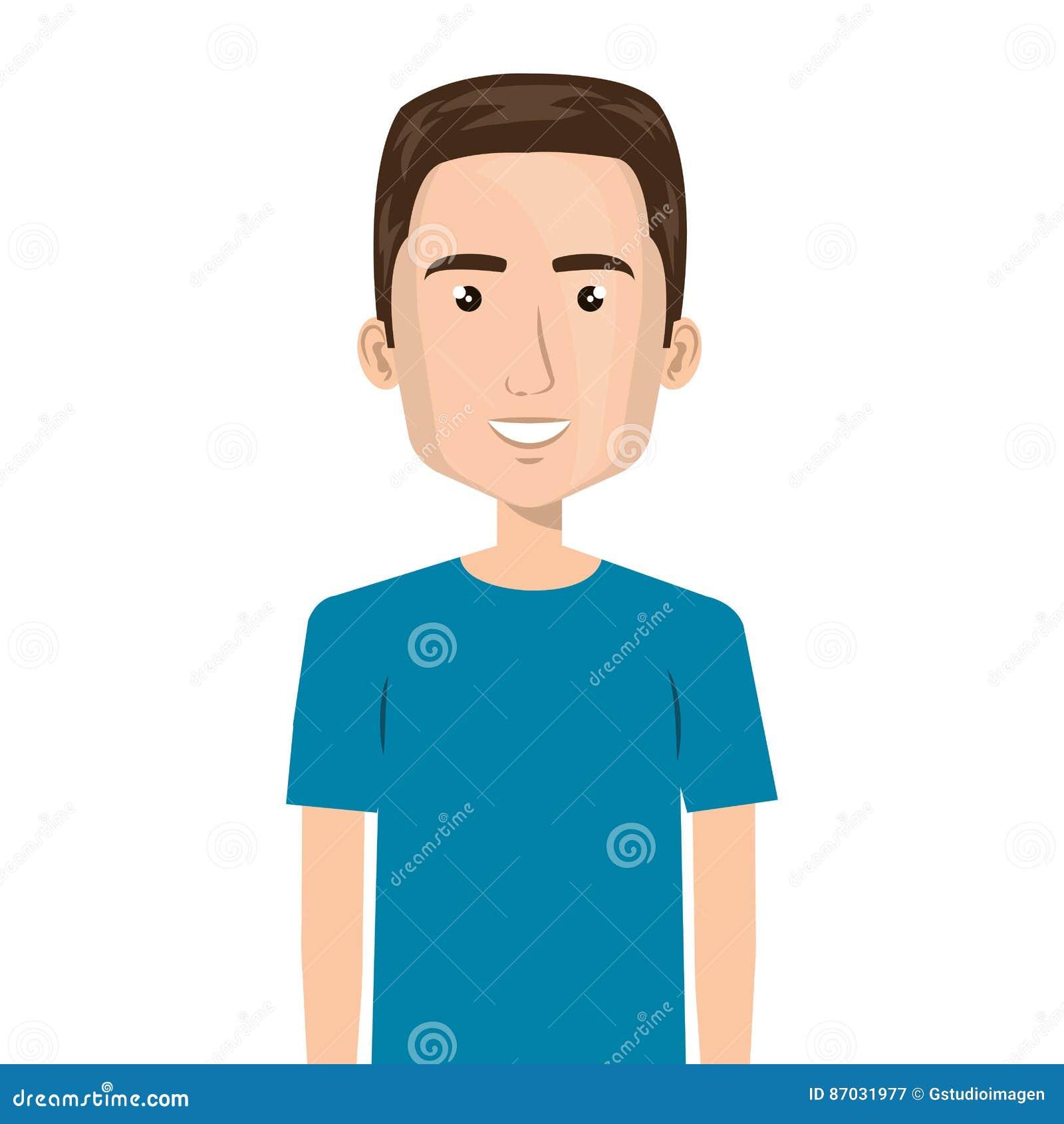 Meio Homem Dos Desenhos Animados Do Corpo Com Penteado Ilustracao