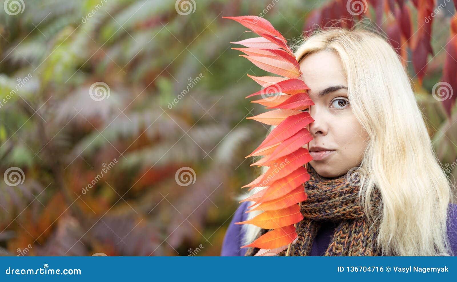 Meio retrato do comprimento da fêmea nova no parque do outono com folhas coloridas
