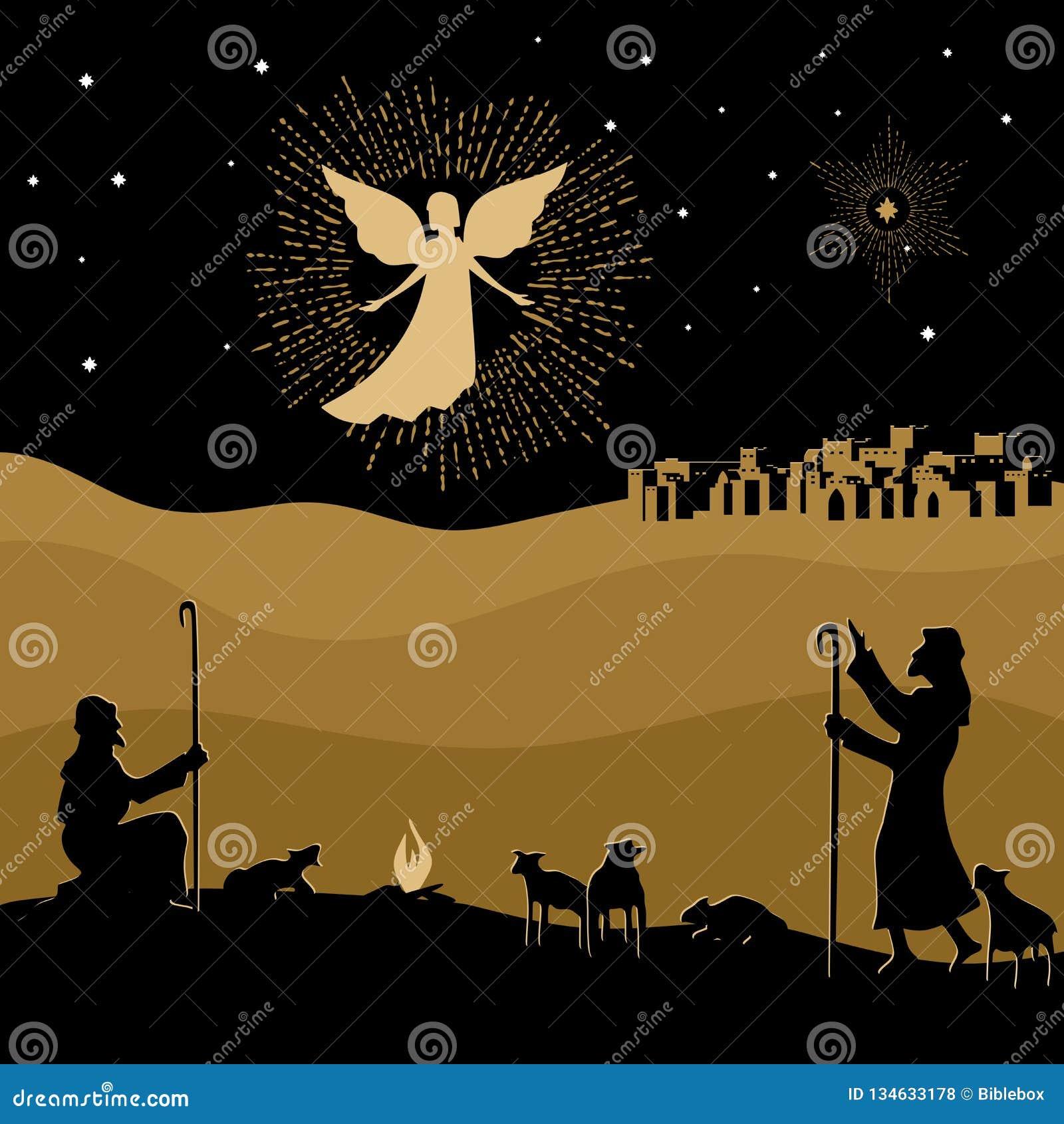 Meisje dat over giften voor Kerstmis denkt Nacht Bethlehem Een engel scheen aan de herders om over de geboorte van de Verlosser J