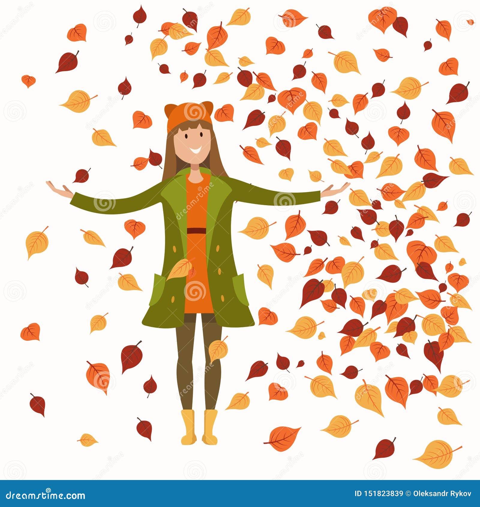Meisje in de herfstkleren