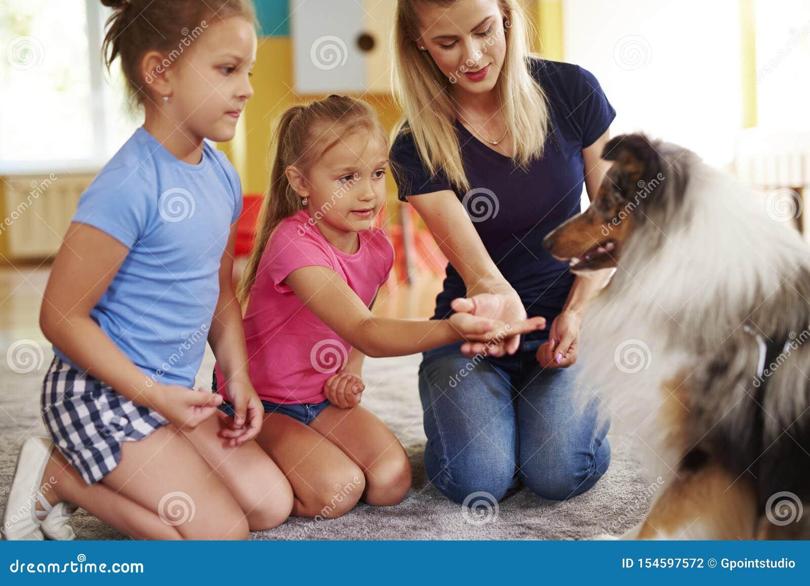 Meisje die hond haar hand geven