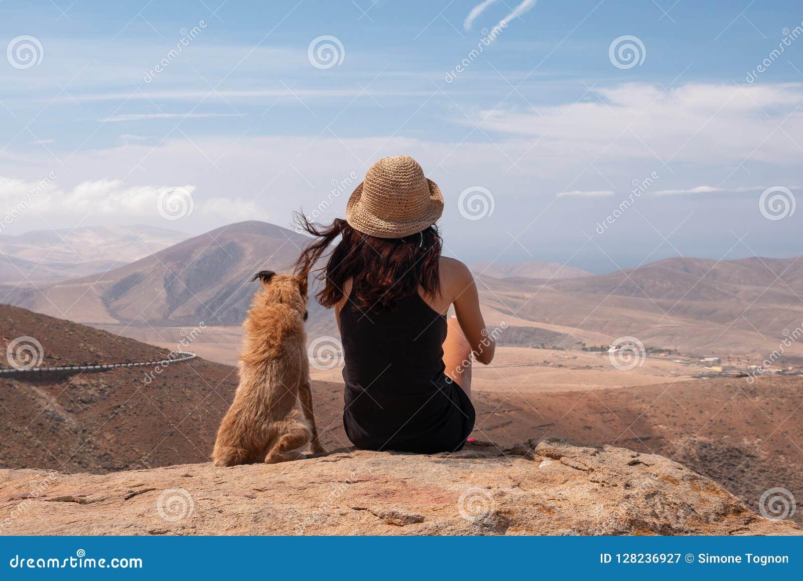 Meisje die op het panorama met haar puppyhond letten