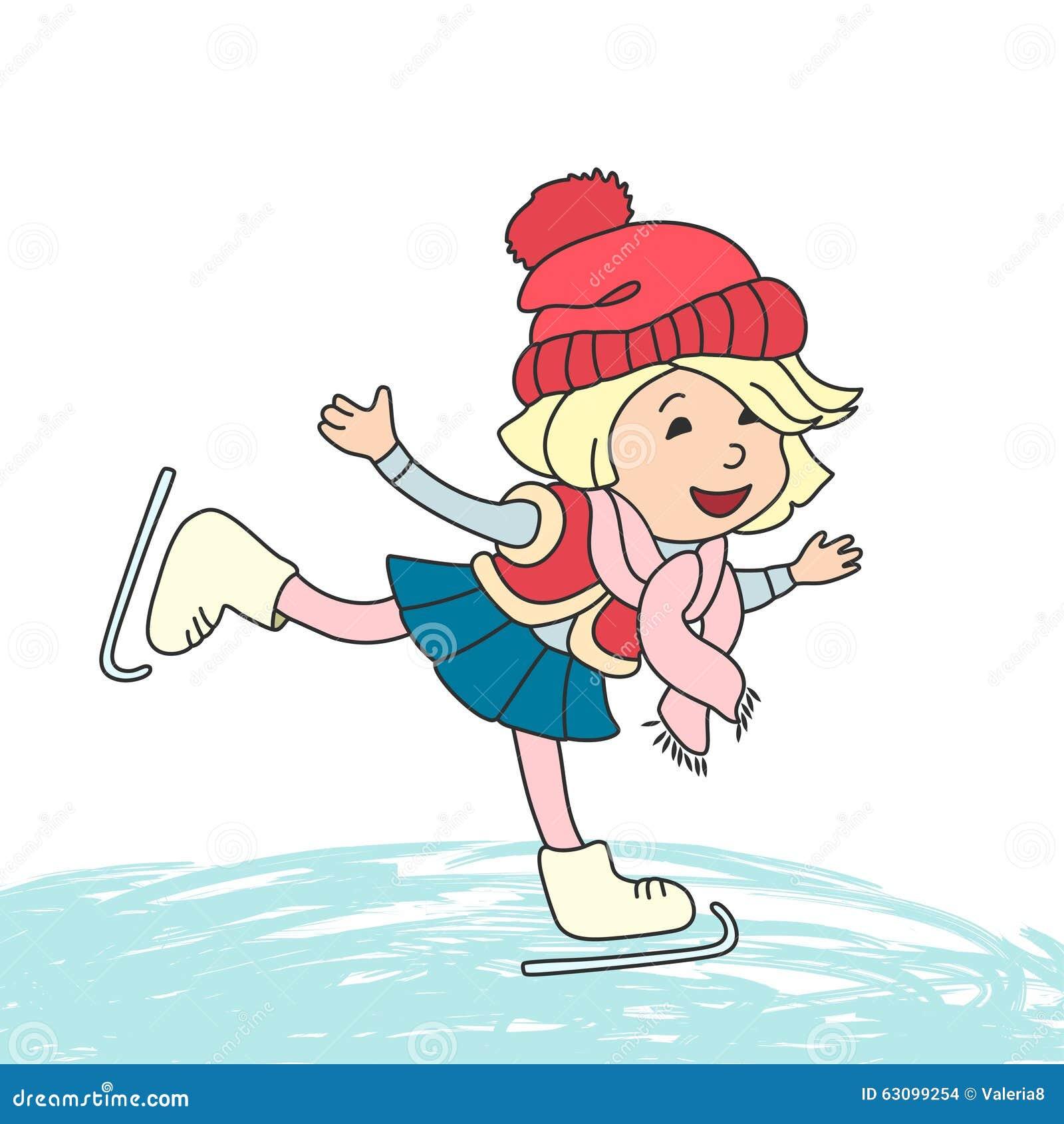 Meisje Die Op Ijs Schaatsen Vector Illustratie Illustratie Bestaande Uit Kind Illustratie 63099254