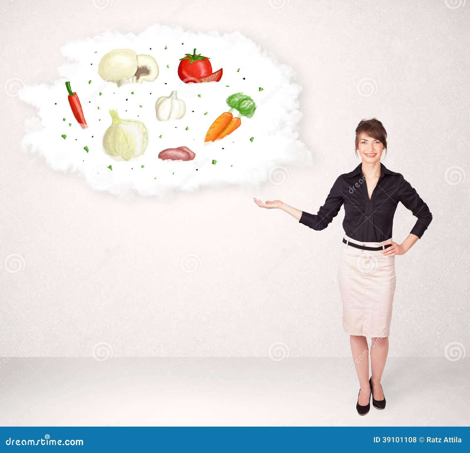 Meisje die voedingswolk met groenten voorstellen