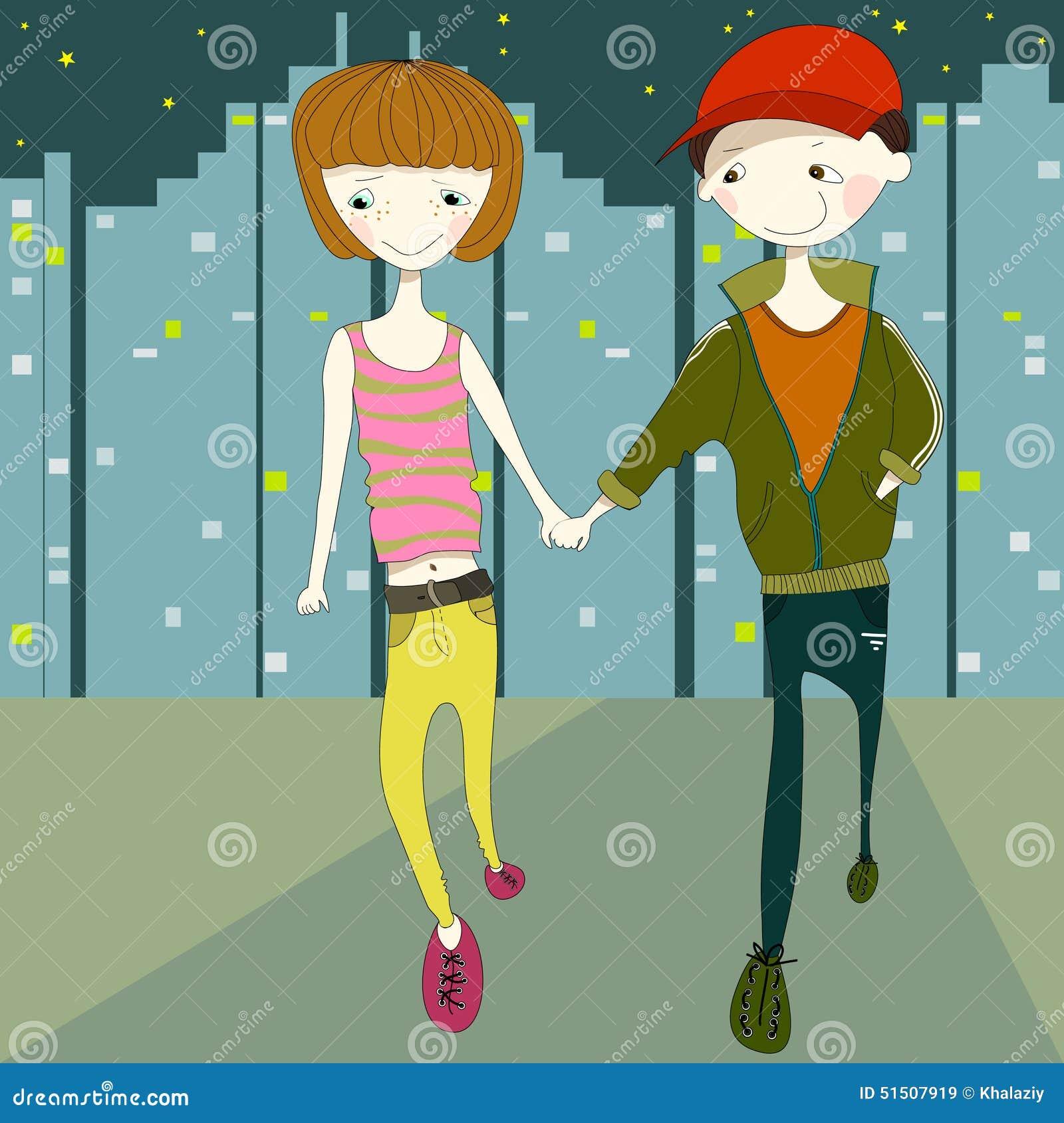 Meisje en jongen die in de stadsstraat bij naight lopen