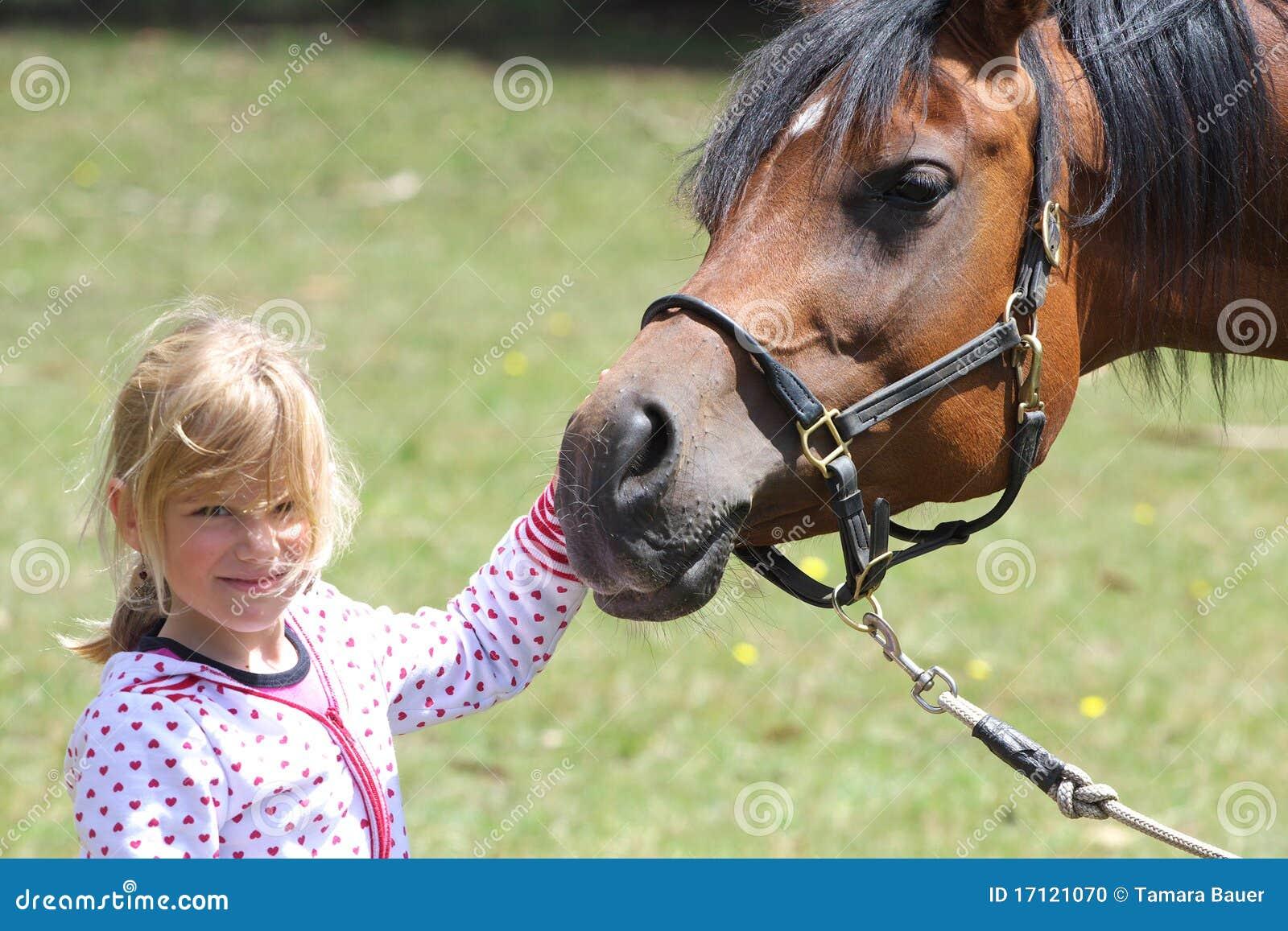 Meisje en paard vriendschap stock foto afbeelding 17121070 - Kamer paard meisje ...