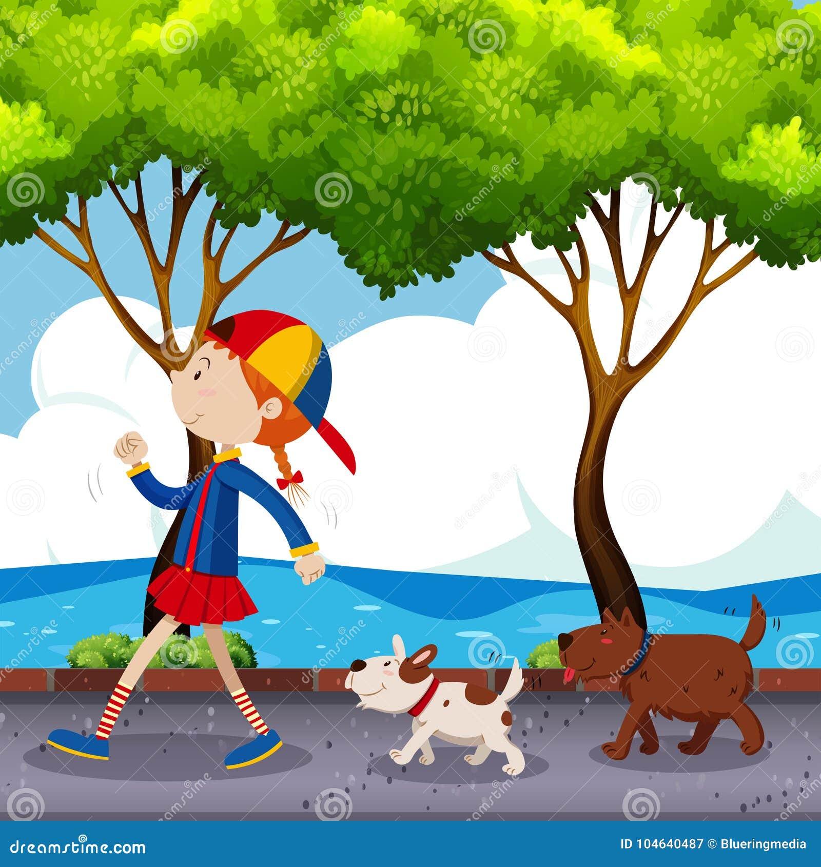 Download Meisje En Twee Honden Die Op Straat Lopen Vector Illustratie - Illustratie bestaande uit youth, achtergrond: 104640487