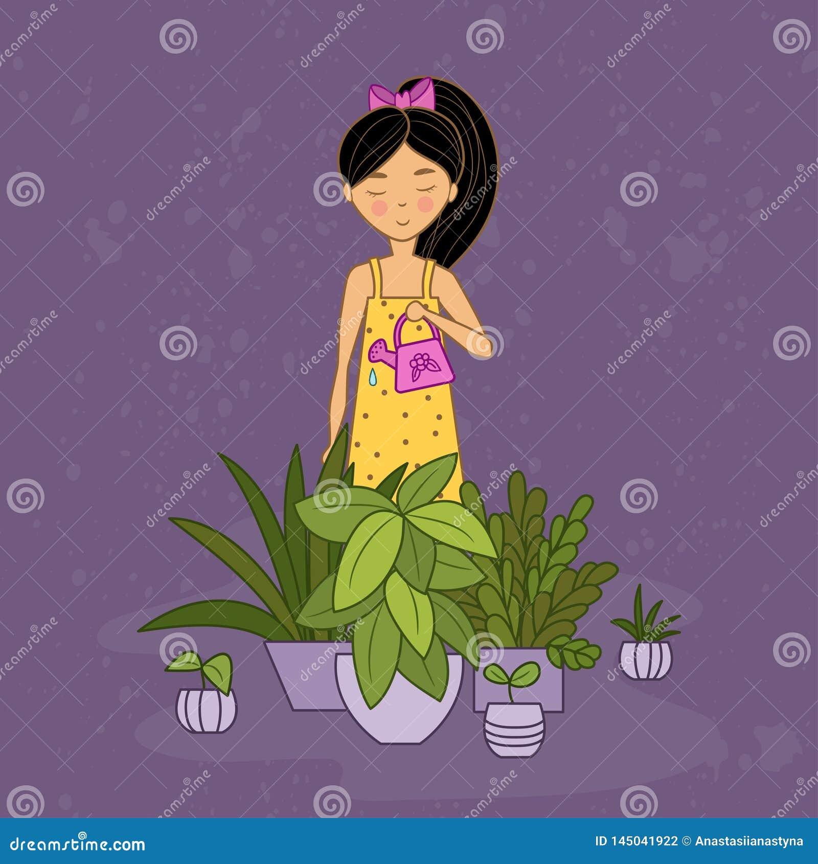 Meisje in gele kledingswateren houseplants