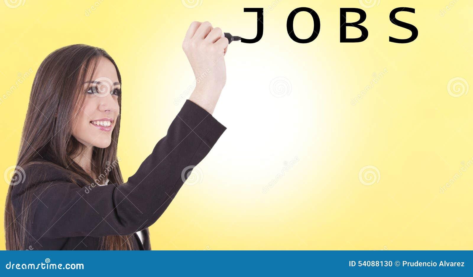 Meisje het typen banen