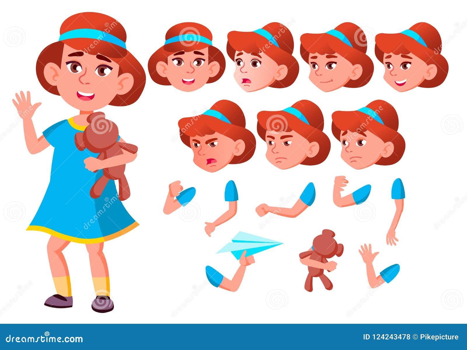 Meisje, Kind, Jong geitje, Tienervector vriend Slimme Positieve Persoon Gezichtsemoties, Diverse Gebaren De Reeks van de animatie