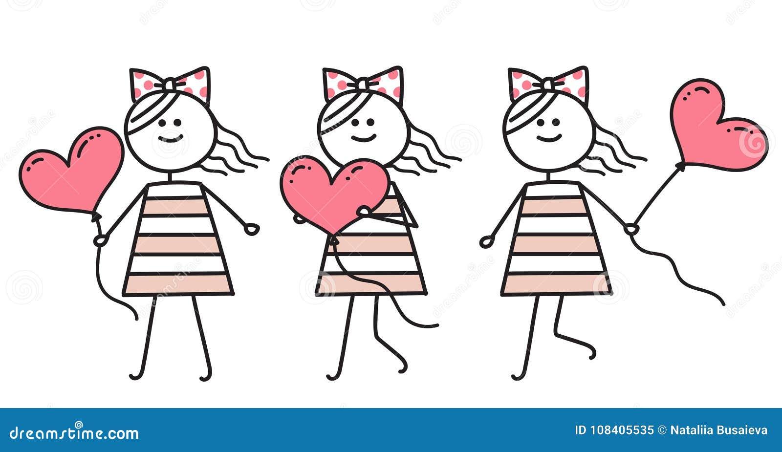 Meisje In Liefde Die Met Roze Hart Lopen Meisje Die Met Roze Ballon