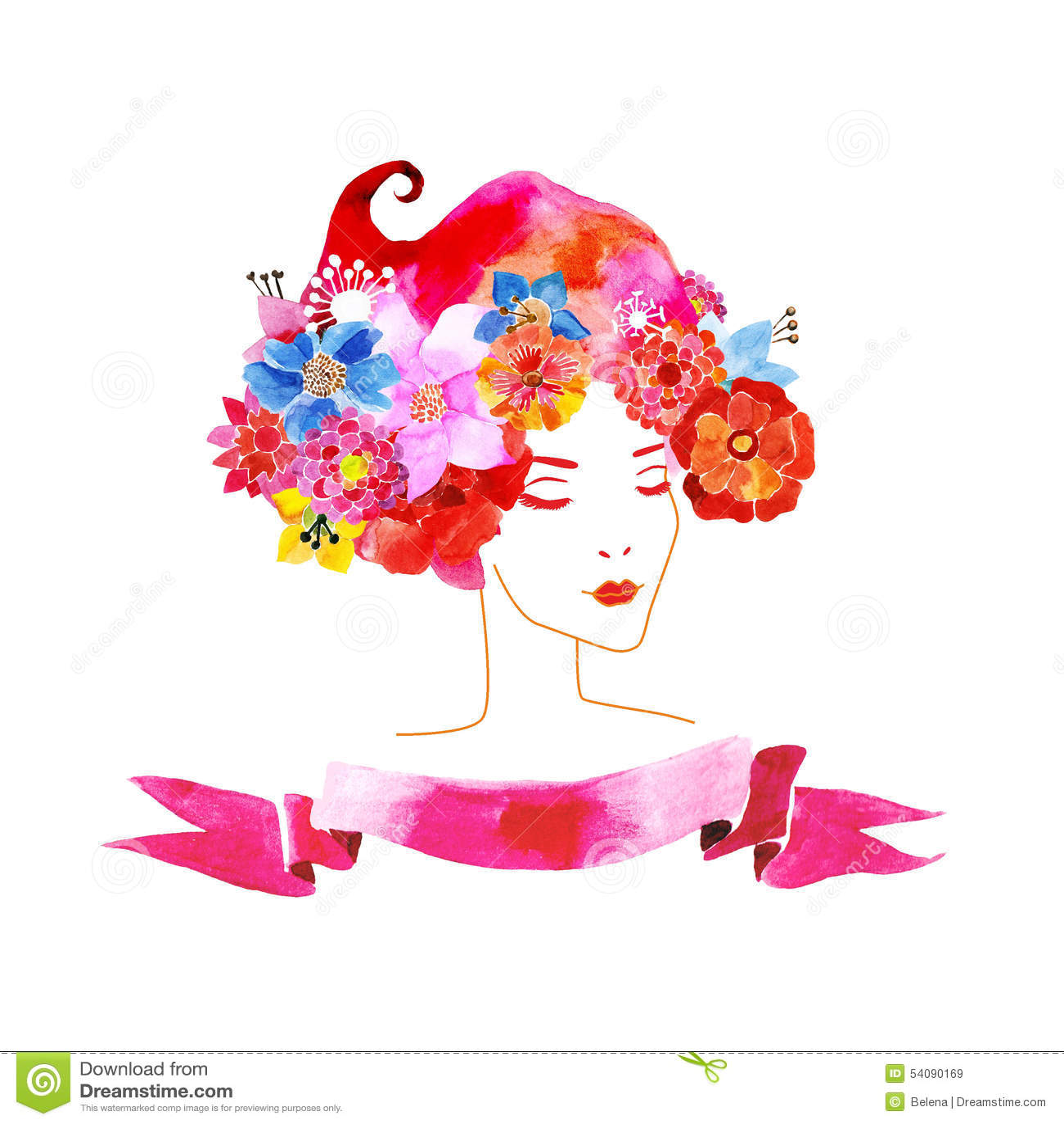 Meisje met bloemen in haar haar