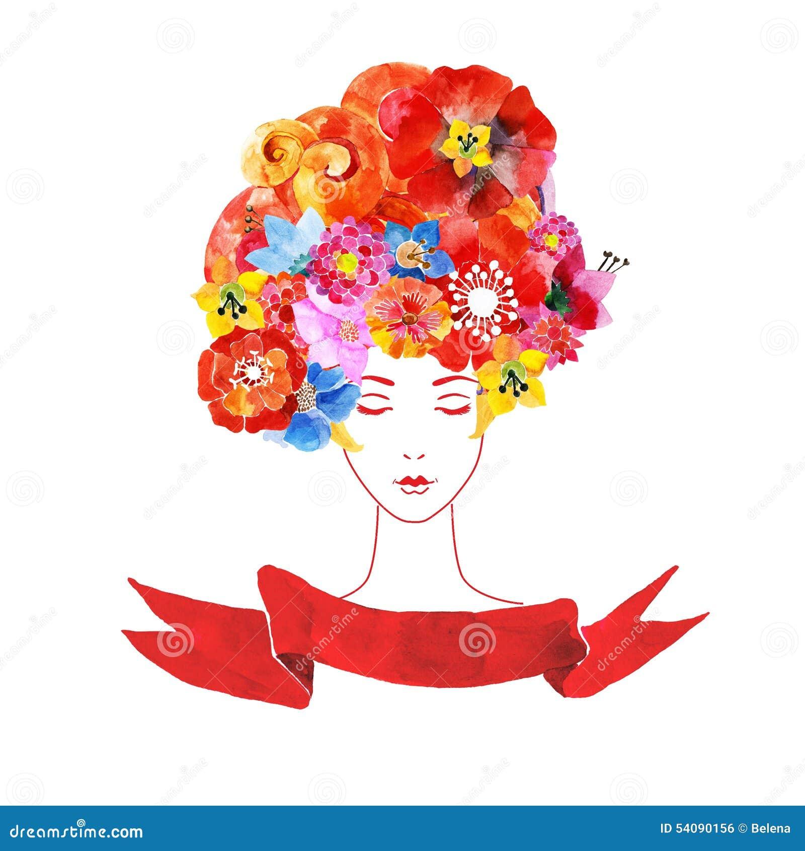 Meisje met bloemen in uw haar