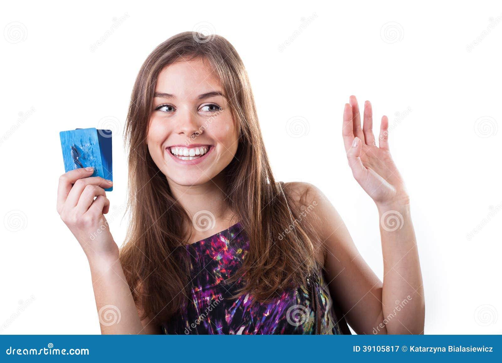 Meisje met creditcards