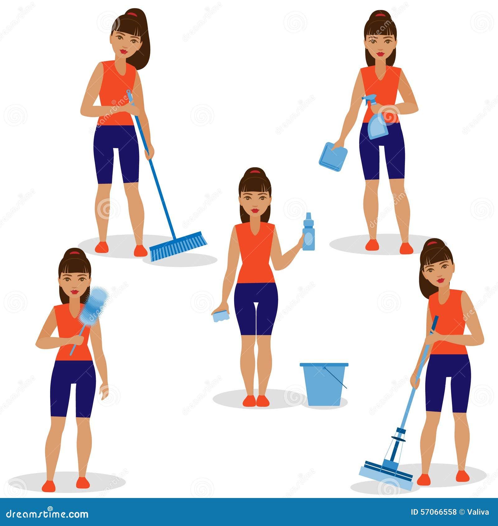 Meisje met Eenvoudige Hulpmiddelen om Schoon te maken