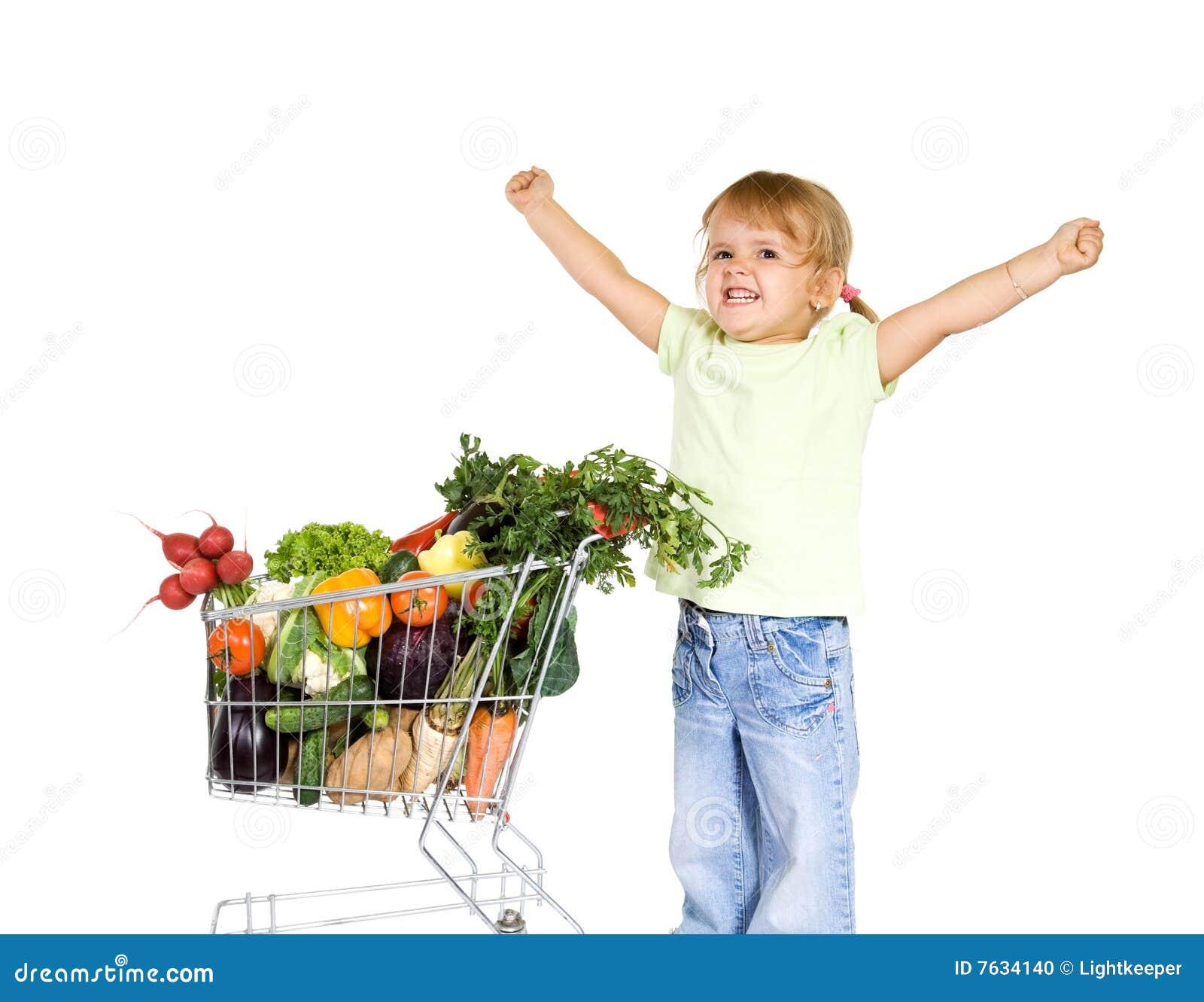 Meisje met gezond voedsel