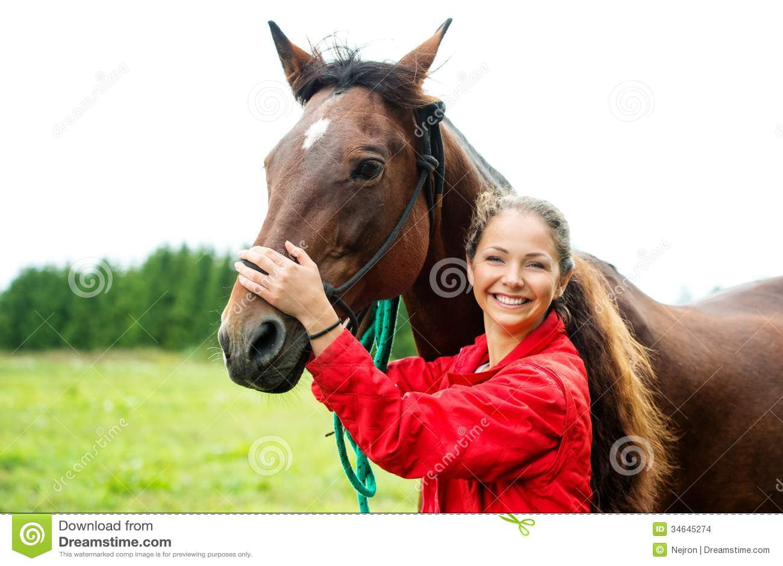 Meisje met haar paard stock foto afbeelding bestaande uit ruiter 34645274 - Kamer paard meisje ...