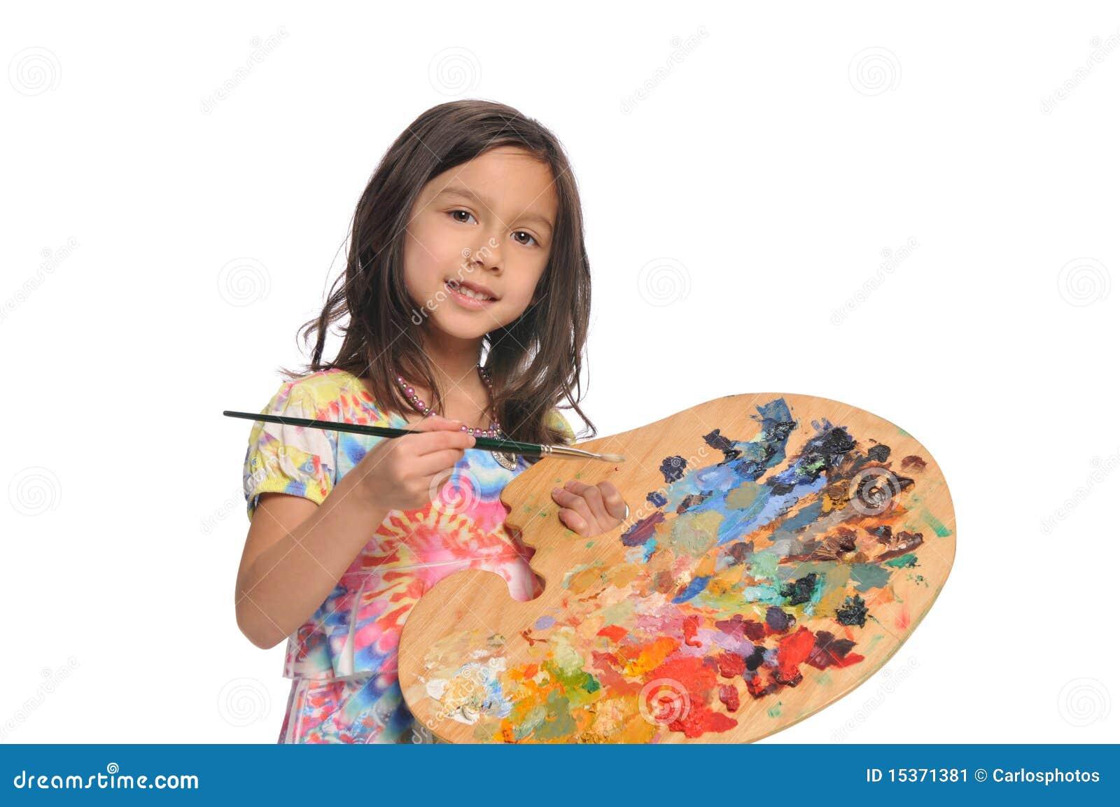 Meisje met kleurrijk palet