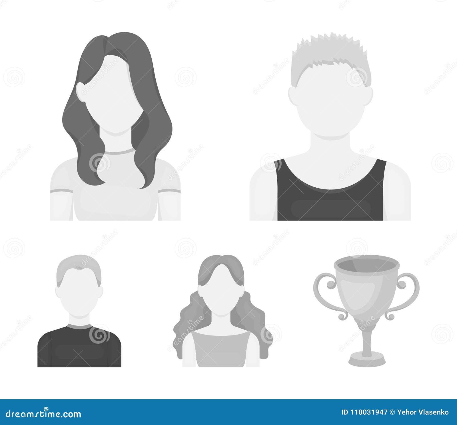 Meisje met lang haar, blonde, krullende, grijs-haired mens Avatar vastgestelde inzamelingspictogrammen in de zwart-wit voorraad v