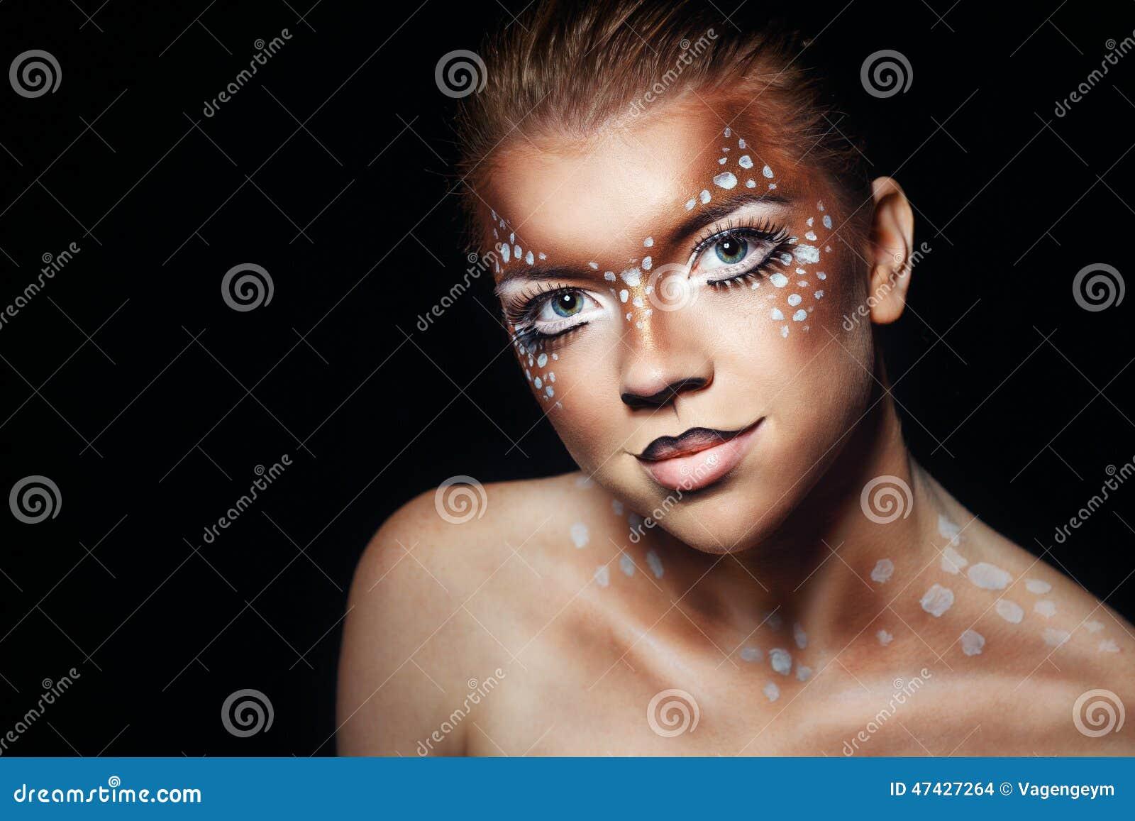 Meisje met make-upherten
