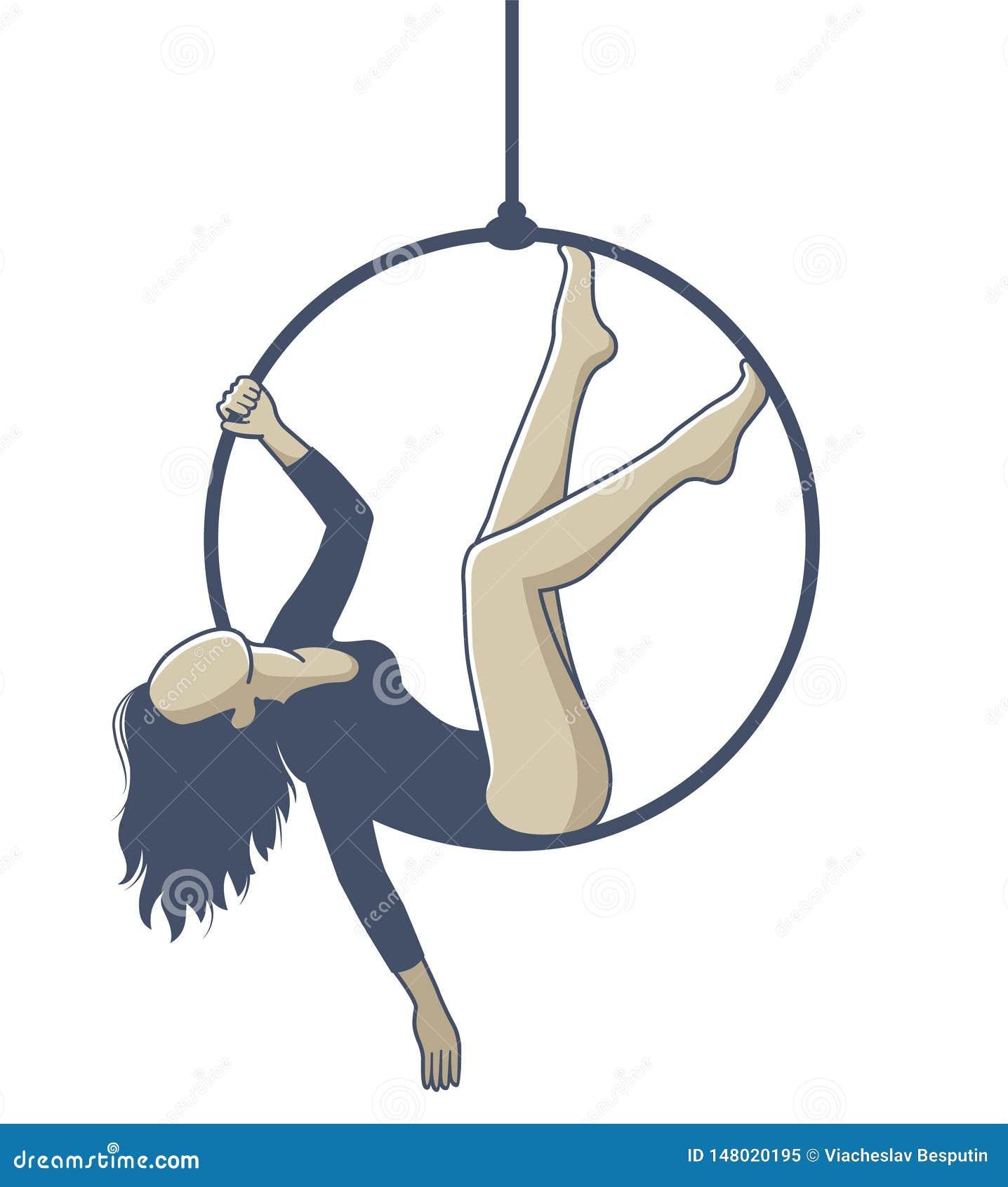 Meisje op een hoepel die op een kabel hangen en oefening doen