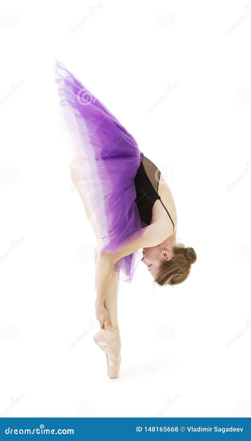 Meisje in purpere tutu en het zwarte ballet van de maillotdans
