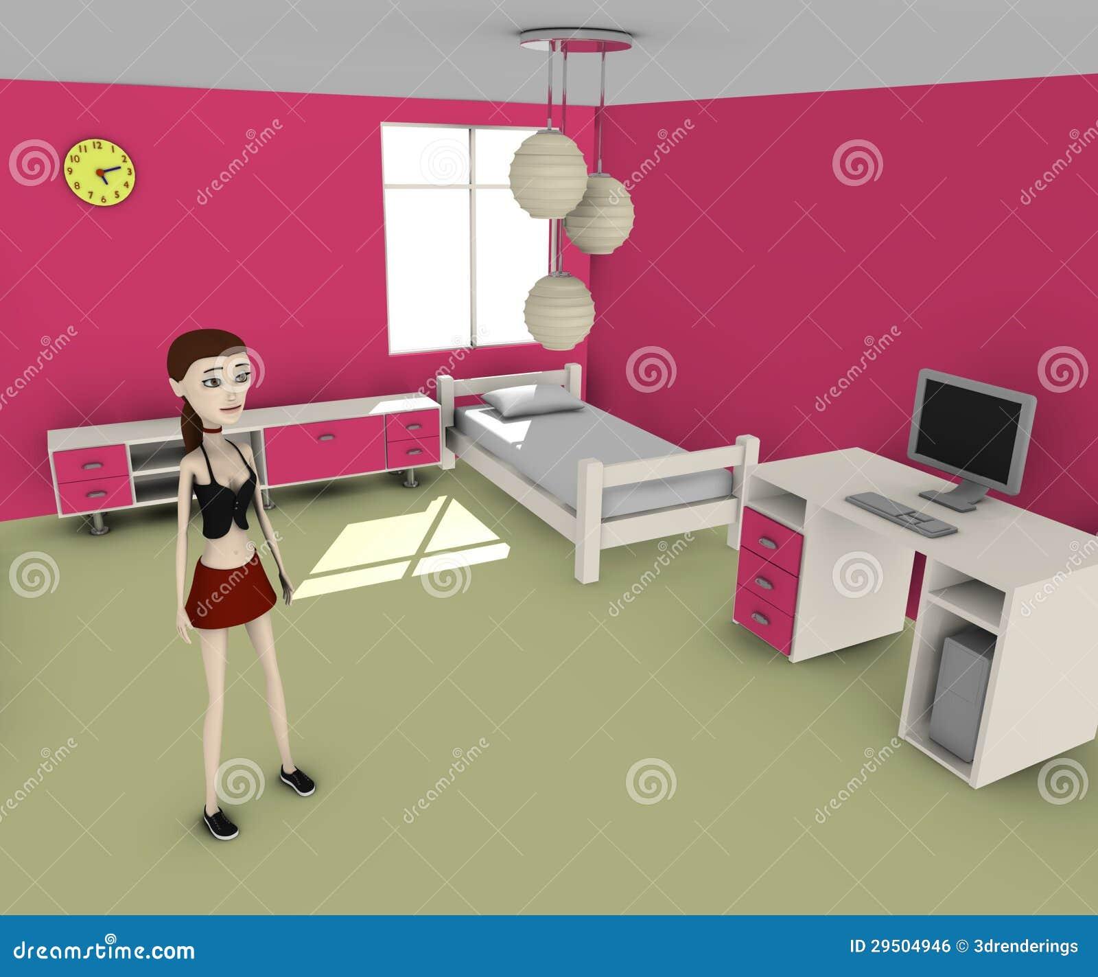 Meisje in roze ruimte