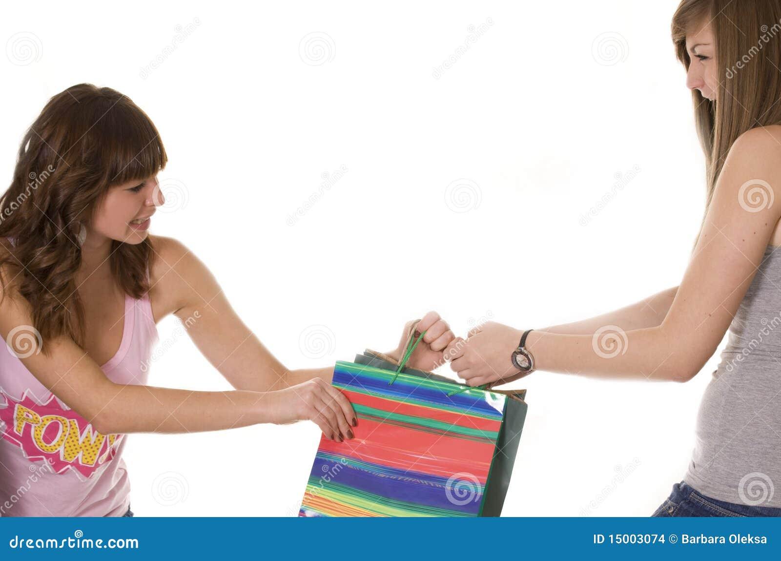 Meisjes die over een het winkelen zak vechten
