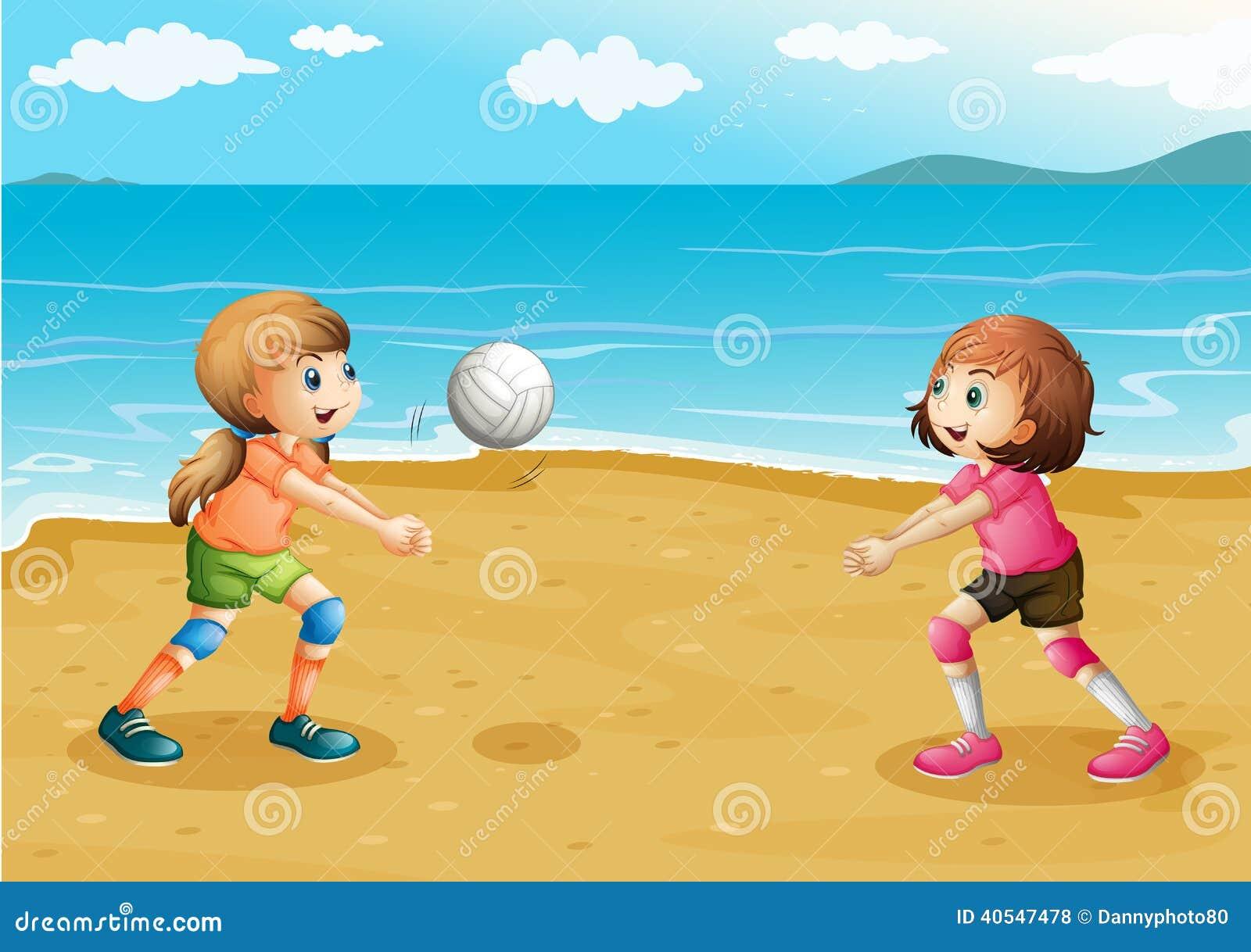 Meisjes die volleyball spelen bij het strand