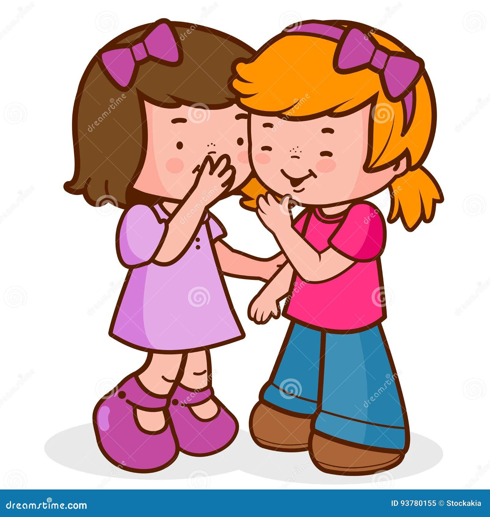 Meisjes Het Vertellen Geheimen Die En Het Lachen Fluisteren Vector