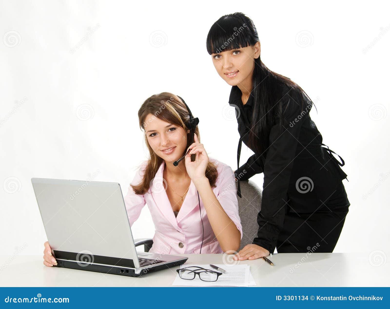 Meisjes met hoofdtelefoon en laptop stock afbeeldingen afbeelding 3301134 - Secretaresse witte ...