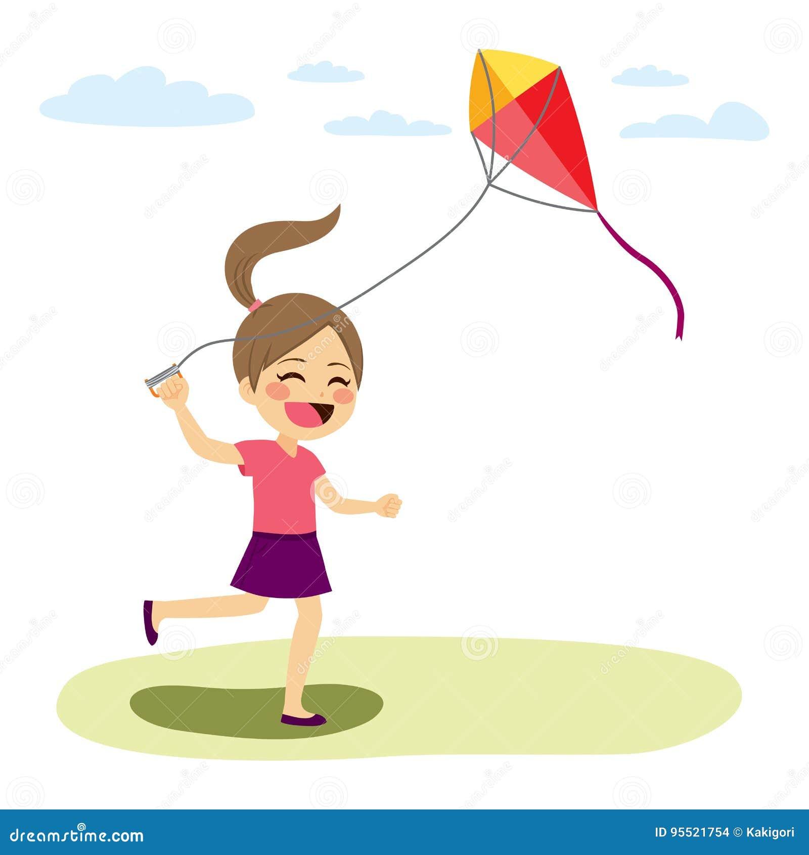 Meisjes vliegende vlieger