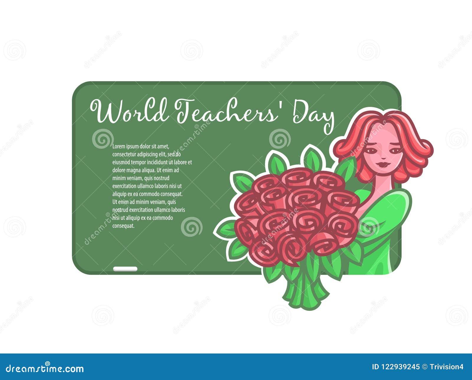 Meisjesleraar met bloemen bij een raad voor een krijt