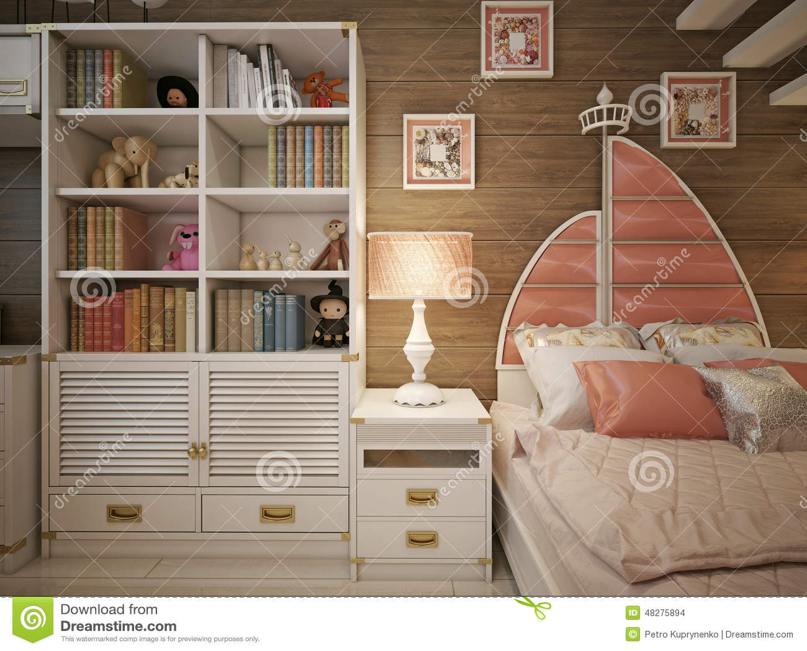 Meisjesslaapkamer in klassieke stijl stock illustratie