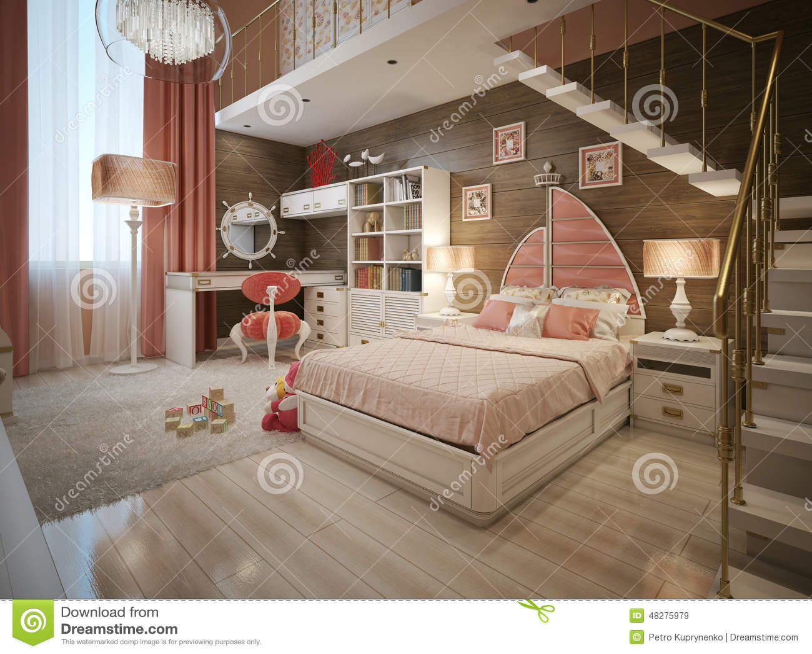 Meisjesslaapkamer in neoklassieke stijl stock illustratie