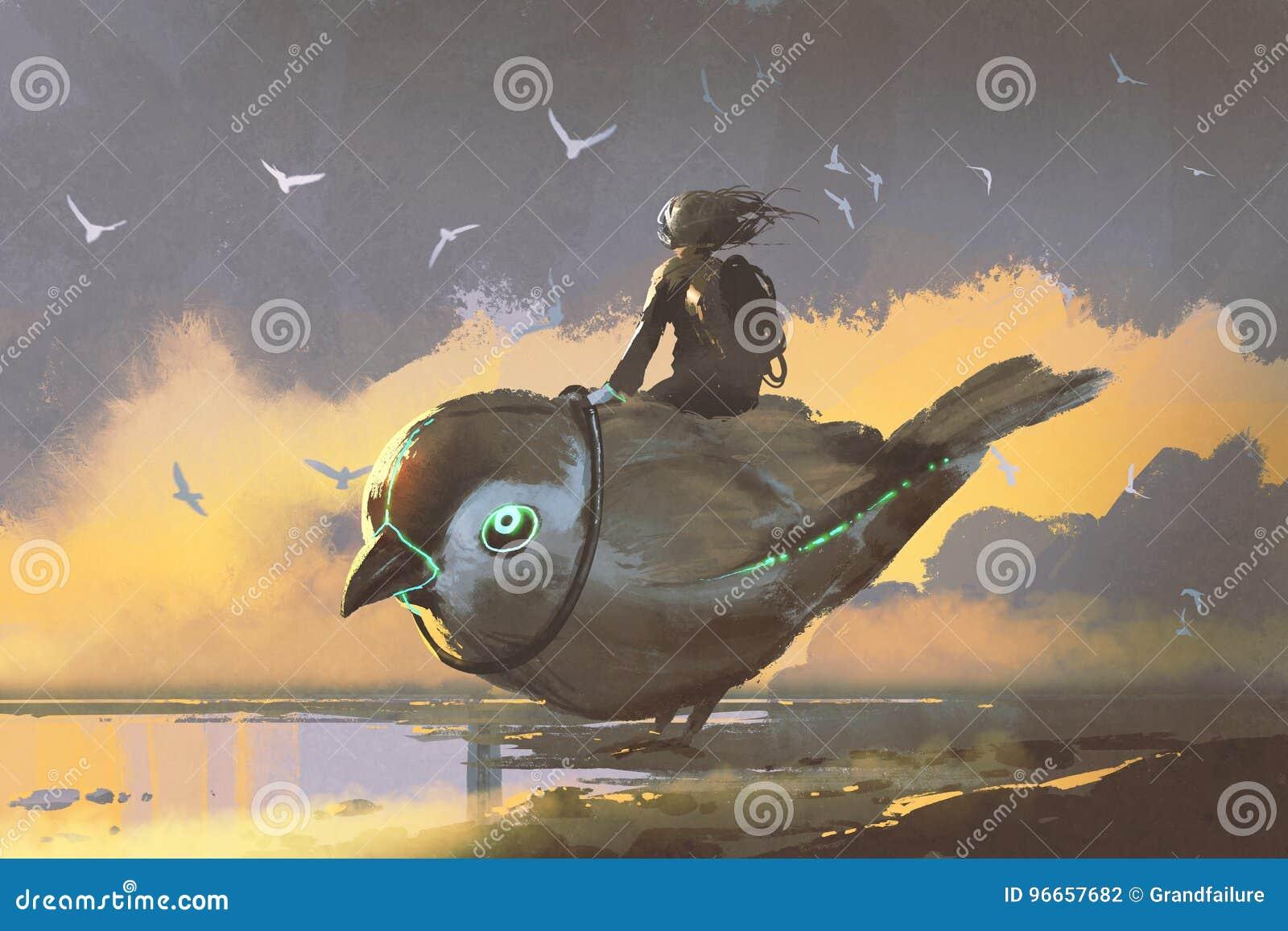 Meisjeszitting op reuze futuristische vogel