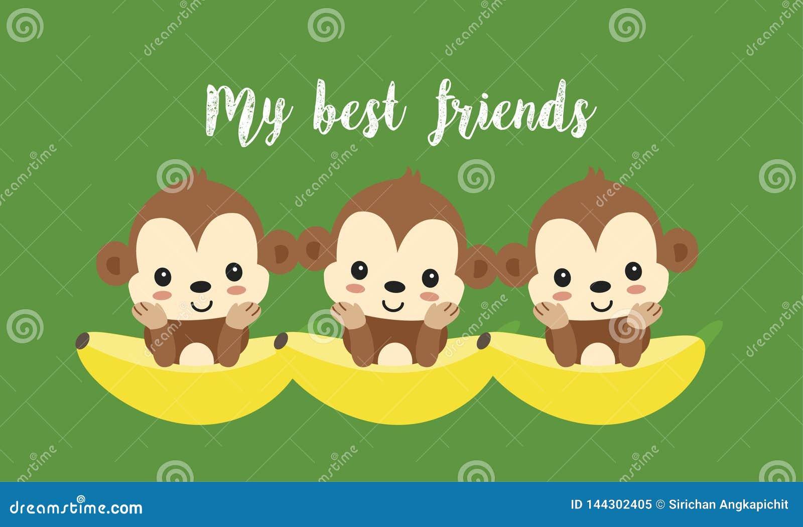 Mejores amigos con los monos lindos Historieta animal de la selva feliz