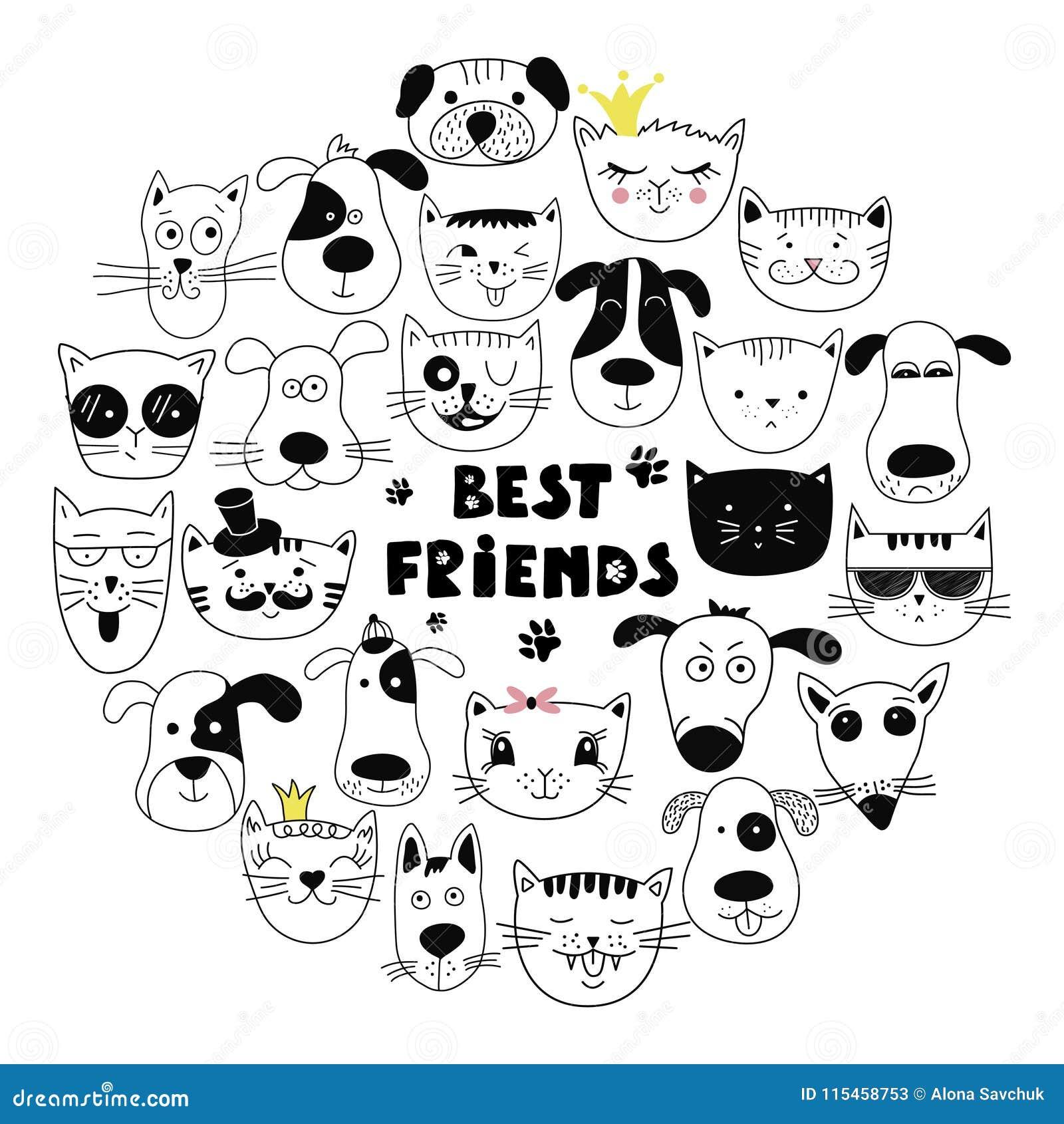 ff575b61df5ff Mejores Amigos Del Perro Y Del Gato Ilustración del Vector ...