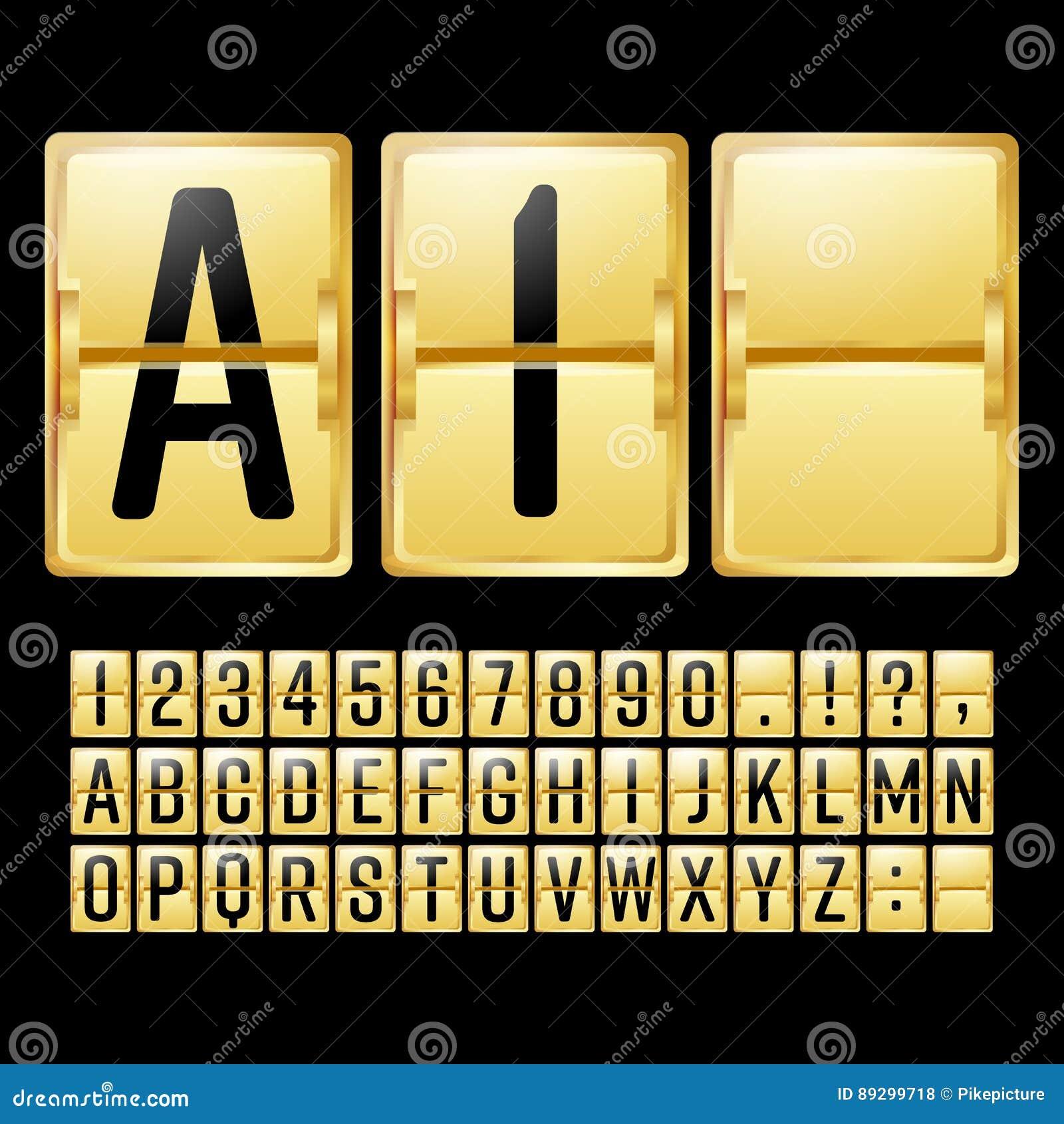 Mekanisk funktionskortvektor Gult schema för guld med svartnummer och bokstäver Parallell klockapanel white för tidmätare för ill