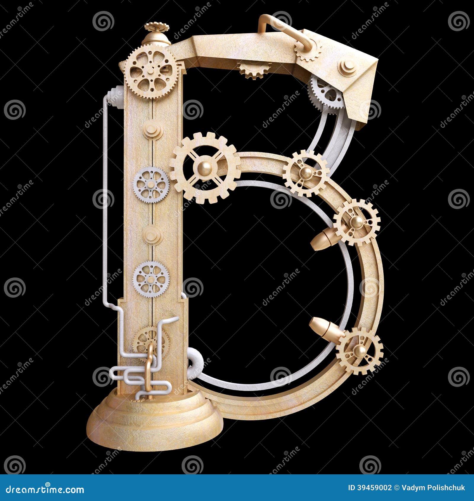Mekaniskt alfabet som göras från järn
