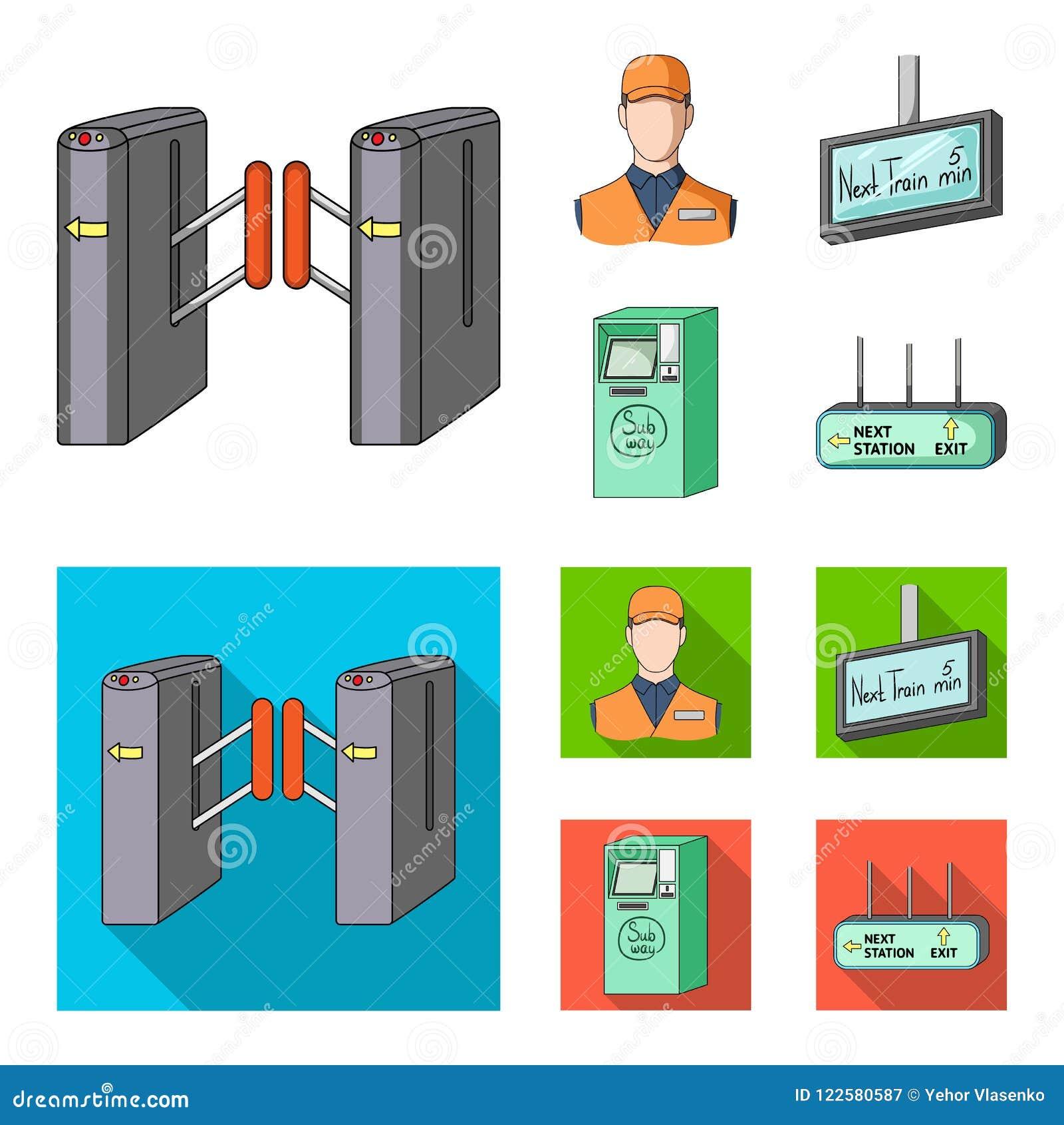 Mekanism, elkraft, transport och annan rengöringsduksymbol i tecknade filmen, lägenhetstil Passerande som är offentligt, trans.,