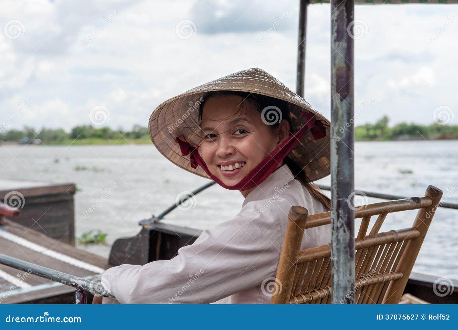 Download Mekong delty uśmiech fotografia editorial. Obraz złożonej z ląg - 37075627