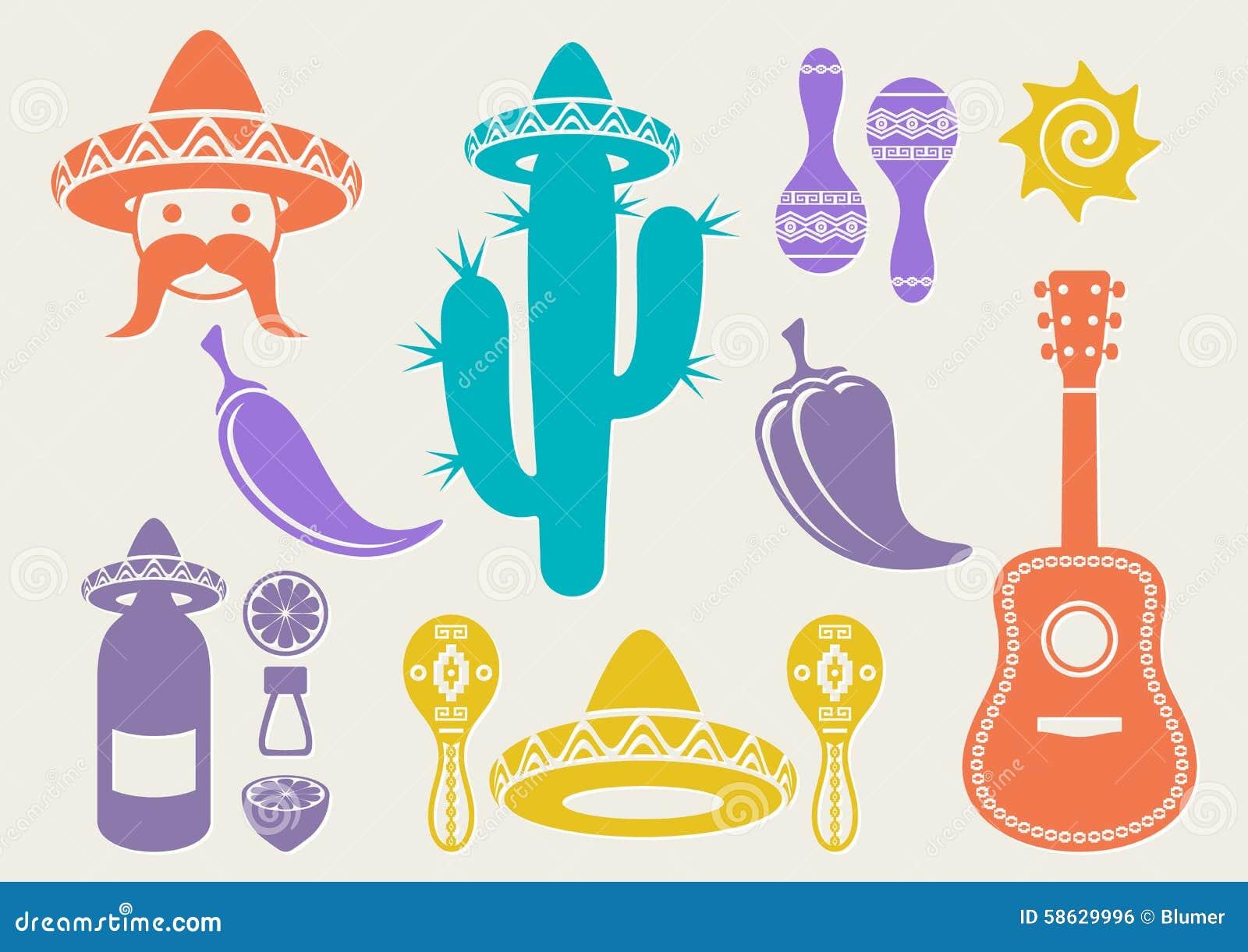Meksyk sylwetki ikony