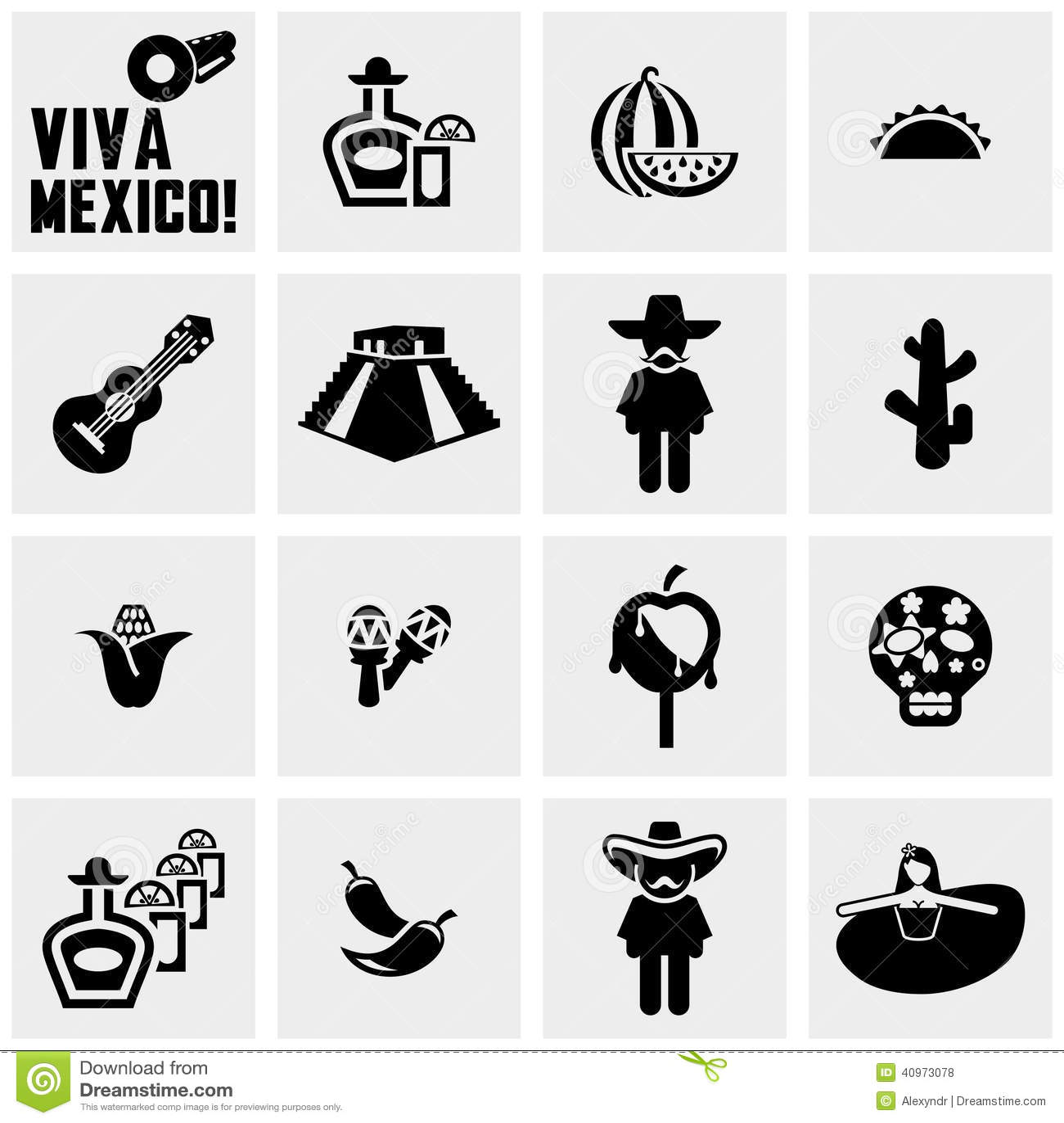 Meksyk wektorowe ikony ustawiać na szarość