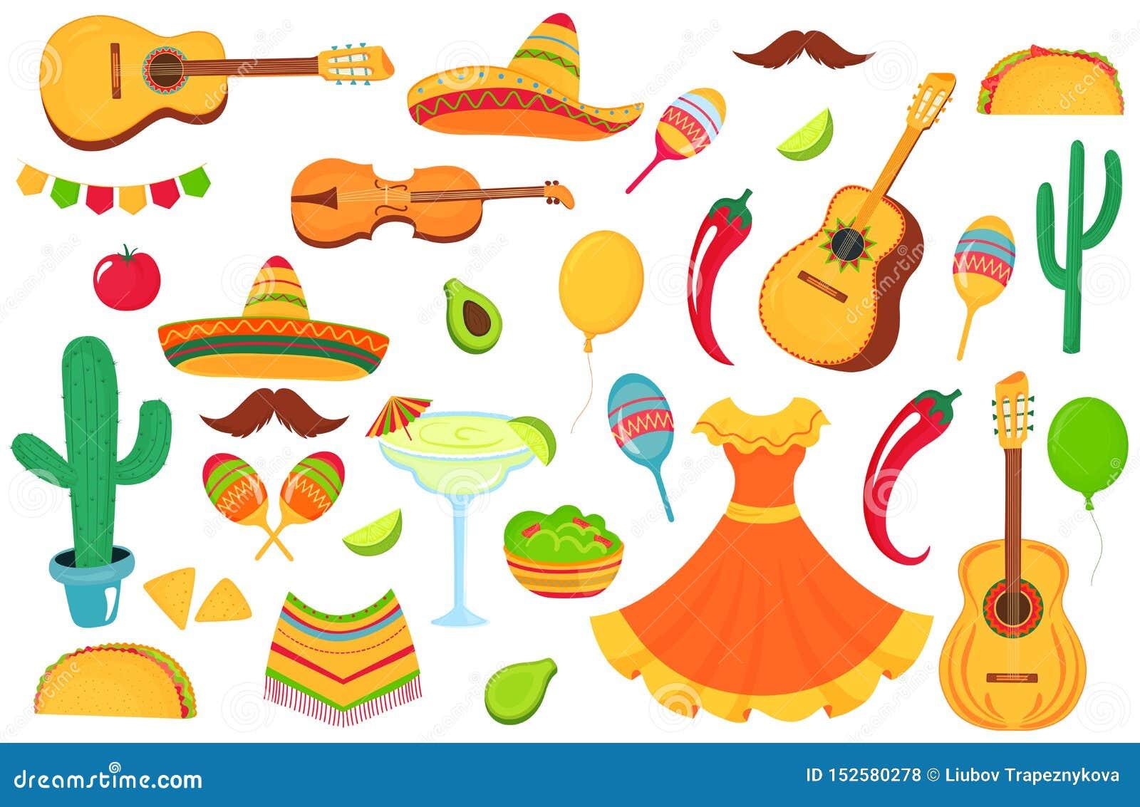 Meksykańscy instrumenty muzyczni, lokalny jedzenie, odziewa Duży set dekoracyjni elementy dla projekta plakat, sztandar, ulotka,